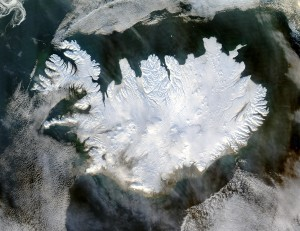 Iceland covered in ice